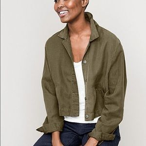 Eileen Fisher Military Cropped Tencel Linen Jacket